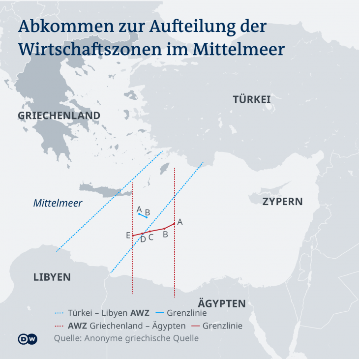 Abkommen zur Aufteilung der Wirtschaftszonen im Mittelmeer; Grafik: dw/anonyme griechische Quelle