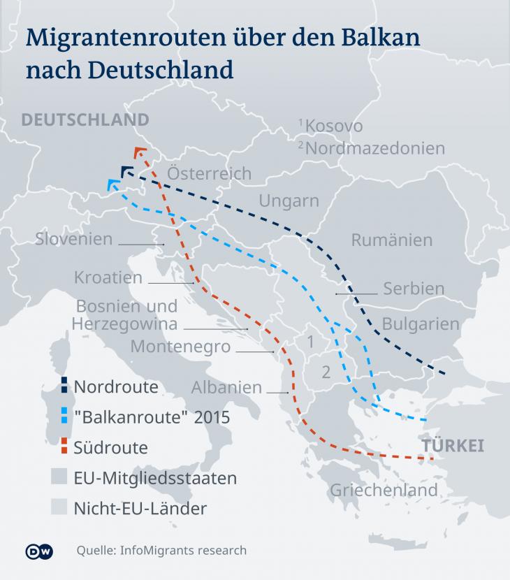 Flüchtlings- und Migrationsrouten nach Deutschland. Quelle: Infomigrants