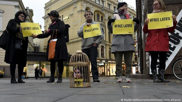 Unterstützer von Amnesty International demonstrieren in Helsinki, Finnland, in der Hoffnung, die Aufmerksamkeit für Prinzessin Latifa zu erhöhen; Foto: Martti Kainluainen/Lehtikuval/picture-alliance