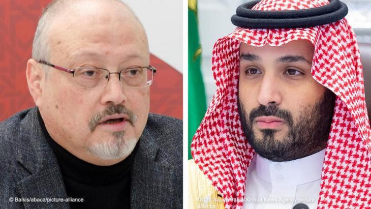 Kombibild Jamal Khashoggi und Mohammed bin Salman; Foto: Balkis/abaca/picture-alliance; G20 Saudi-Arabia/Xinhua News Agency/picture-alliance