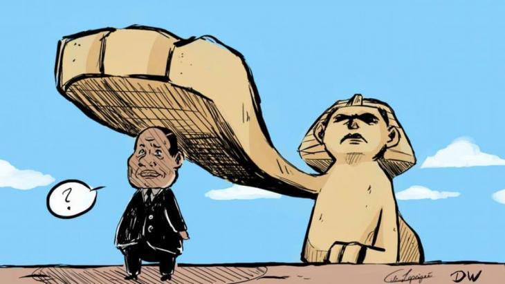 Karikatur Präsident Abdel Fattah al-Sisis von Celine Rubbelke; Quelle: DW