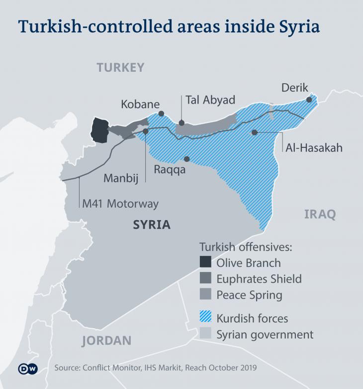 Infografik der türkisch kontrollierten Gebiete in Syrien. Quelle: Deutsche Welle
