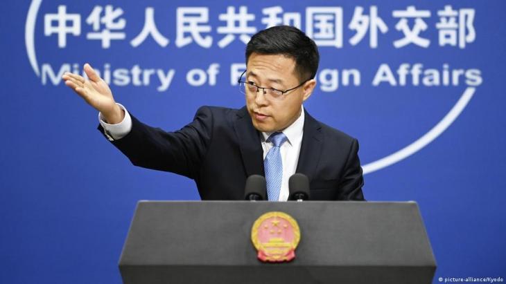 Der Sprecher der chinesischen Außenministeriums Zhao Lijian; Foto: picture-alliance/Kyodo
