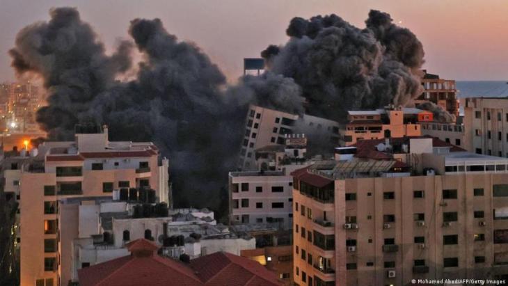 Der zerstörte Hanadi-Turm in Gaza-Stadt. ( Mohamed Abed/AFP/Getty Images)