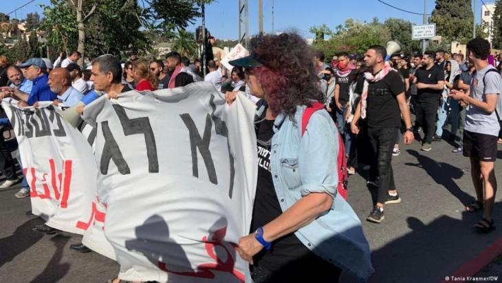 Proteste in Scheich Dscharrah: Vier Familien könnten sehr bald ihr Haus verlieren. (Foto: Tania Kraemer/DW)