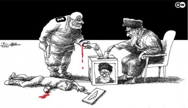 Karikatur von Mana Neyestani zu den bevorstehenden Präsidentschaftswahlen im Iran. Foto: Mana Neyestani/DW