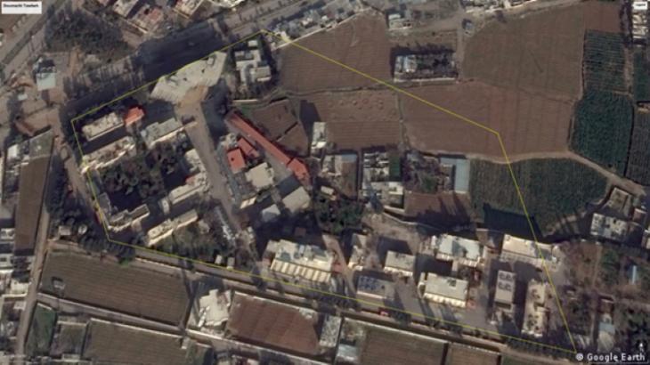 Google Earth-Screenshot des Sicherheitskomplexes von Jaish al Islam (Quelle: Google Earth)