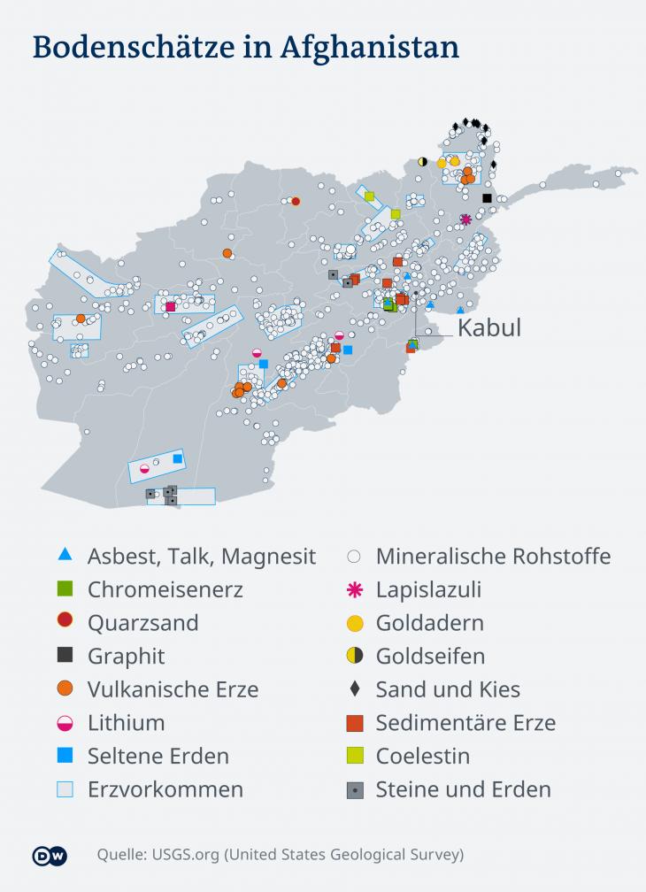 Bodenschätze in Afghanistan. (Grafik: DW)