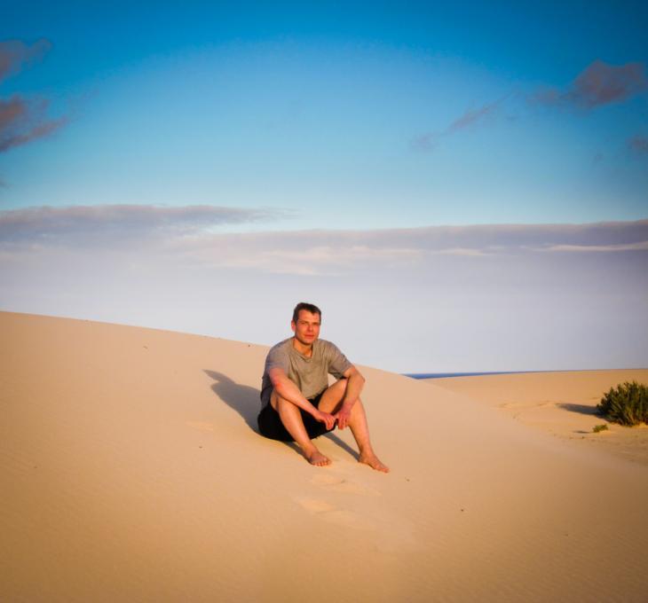 Wolfgang Herrndorf auf Fuerteventura; Foto: Jan Bölsche