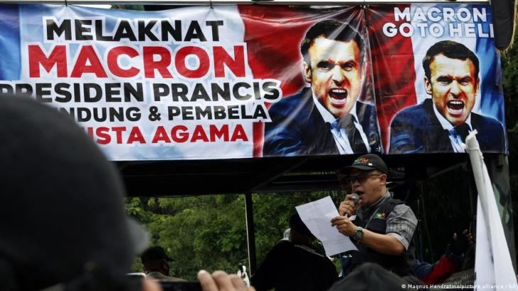 Protest gegen Macron im überwiegend muslimischen Indonesien Foto: picture-alliance/AP
