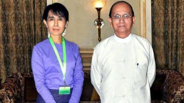 Aung San Suu Kyi und Thein Sein; Foto: EPA/MNA
