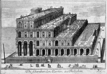 Dei Hängenden Gärten nach einer Graphik von Humphrey Prideaux, 1726 (Quelle: Wikipedia)