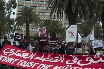 Demonstration gegen Militärgerichte in Tunesien; Foto: Sarah Mersch