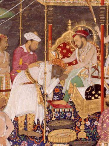 Shah Jahan empfängt den besiegten Rajputenfürsten Rana Amar Singh. Indien, um 1640. Detail; Quelle: © bpk / Staatliche Museen zu Berlin, Museum für Islamische Kunst / Ingrid Geske