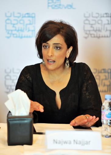 """Die palästinensische Regisseurin Najwa Najjar auf dem """"Doha Tribeca Film-Festival"""" im Jahr 2009; Quelle: Doha Tribeca Film-Festival"""