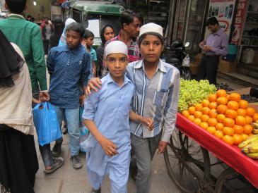 Muslimische Jungen in Neu Delhi; Foto: Ronald Meinardus