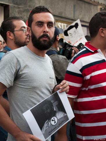 """Proteste gegen """"Gesetz zur wirtschaftlichen Aussöhnung"""" in Tunesien; Foto: Sarah Mersch"""