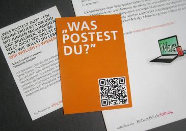"Projekt Flyer Das Projekt ""Was postest Du?"". Foto: ufuq.de"