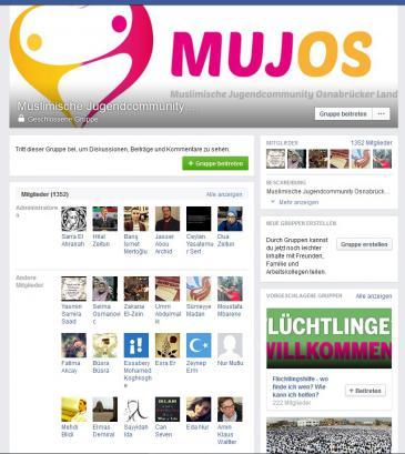 """Screenshot der Facebookseite """"Muslimische Jugendcommunity Osnabrücker Land"""""""