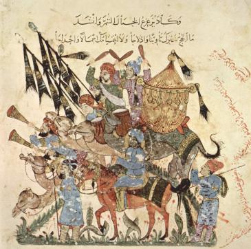 Illustration: Pilgerkarawane musiziert mit Trommeln und Trompeten auf dem Weg nach Mekka, 31. Maqāma al-Hariris (Bibliotheque Nationale de France)
