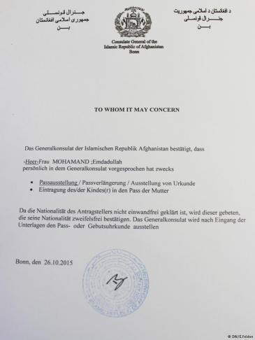 Kopie eines Schreibens des afghanischen Generalkonsulats in Bonn; Foto: DW