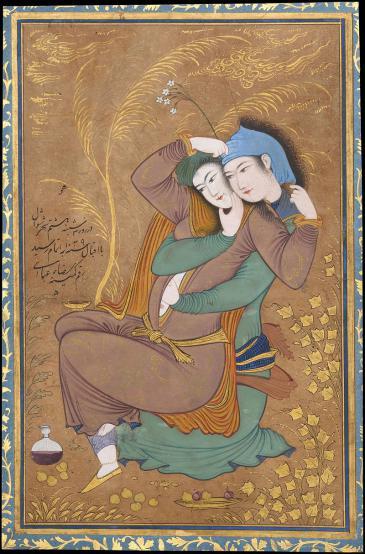 Persische Miniatur von Reza Abbasi zeigt zwei Liebende (1629-1630); Quelle: Wikipedia