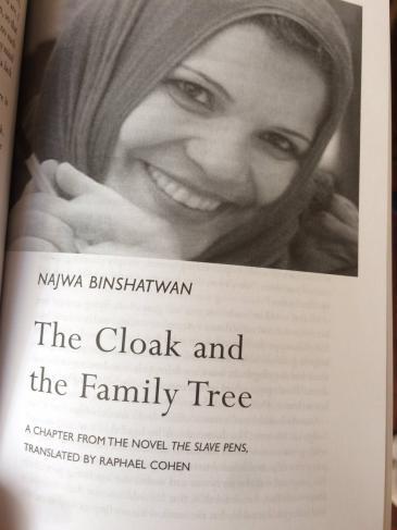 """Die libysche Autorin Najwa Binshatwan und ihr Buch """"The Slave Pens""""; Quelle: Twitter"""