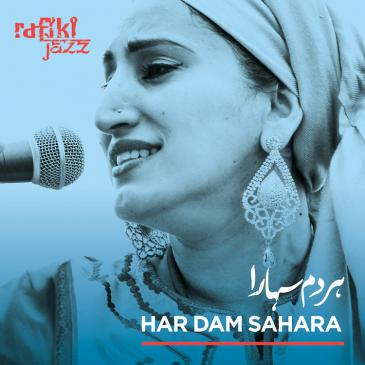 "Cover of Rafiki Jazz' latest album, ""Har Dam Sahara"" (released by Riverboat Records)"