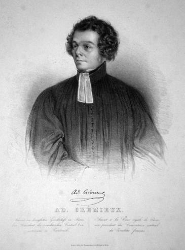 Adolphe Crémieux, Lithographie von Faustin Herr, 1840; Quelle: Wikipedia