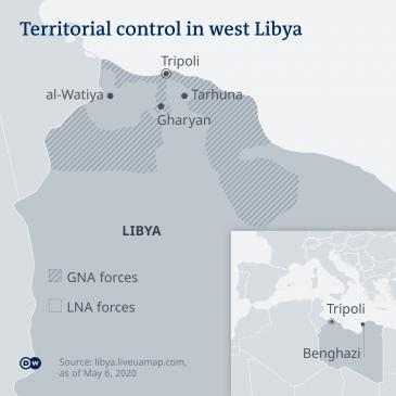 Infografik zur territorialen Herrschaft im Westen Libyens; Quelle: Deutsche Welle