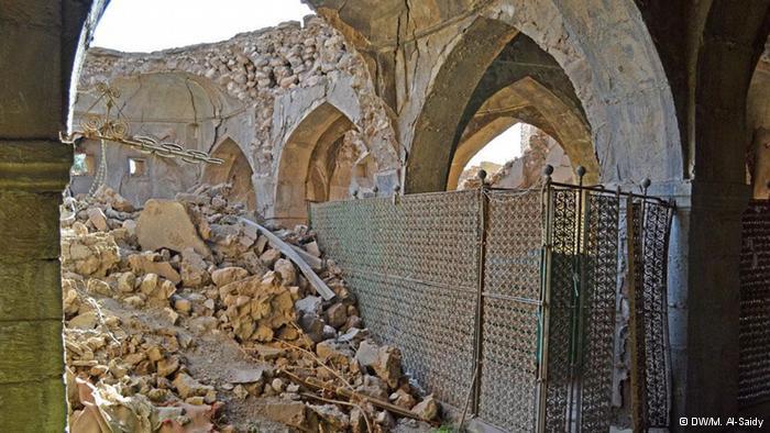Alte zertrümmerte Synanoge in der Provinz Ninive