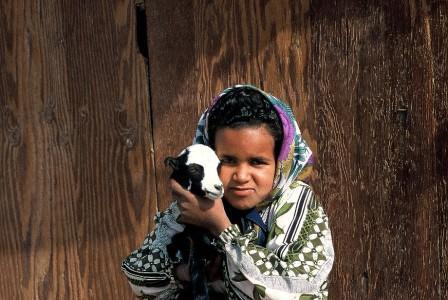 Beduinenmädchen mit kleinem Zicklein
