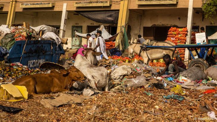Ein Junge wühlt in einem Müllberg am Straßenrand.