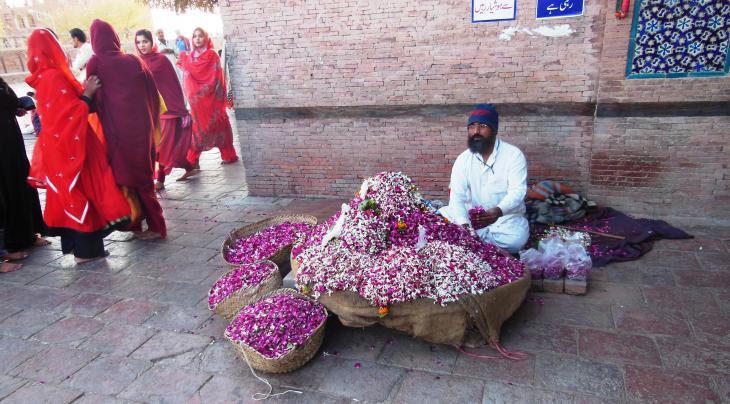 Rosenblütenblätter am Schrein des Heiligen Hazrat Bahauddin Zakaria, Multan, Punjab, Pakistan. Foto: Julis Koch
