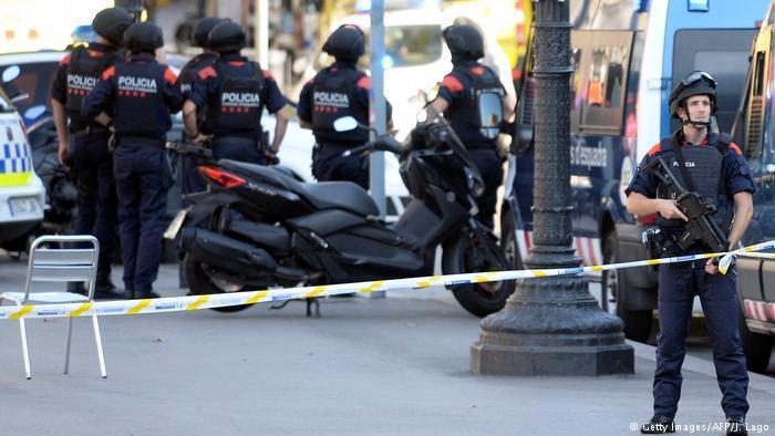 Polizei am Tatort in Barcelona.