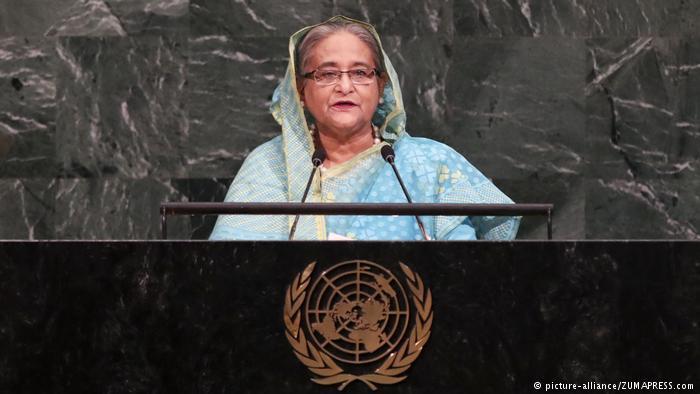 Bangladeschs Ministerpräsidentin Sheikh Hasina spricht vor den UN; Foto: picture-alliance/ZUMAPRESS.com
