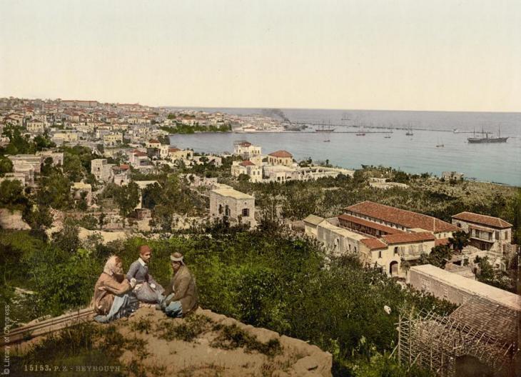 Blick auf die Küste Beiruts, Libanon, 1890-1900; Foto: Raseef22