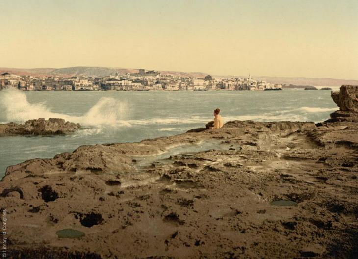 Küste vor Sidon, Libanon, 1890-1900; Foto: Raseef22