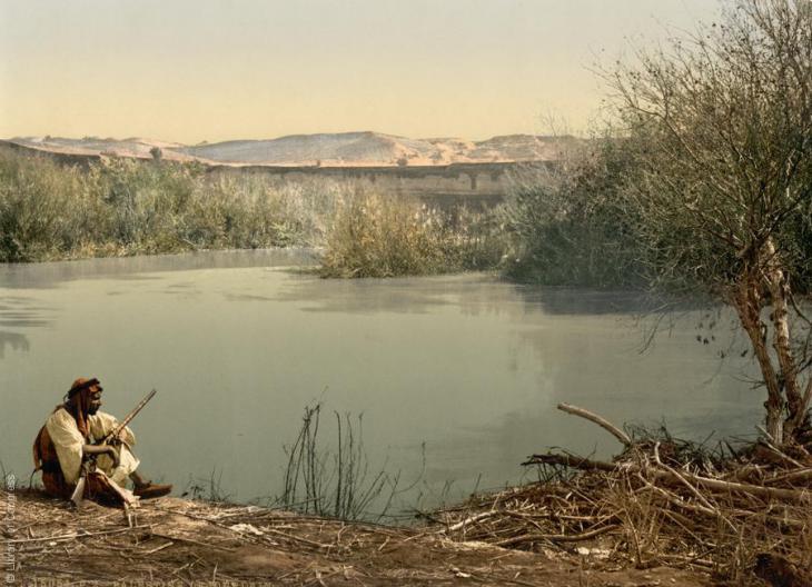 Blick auf den Fluss Jordan, 1890-1900; Foto: Raseef22