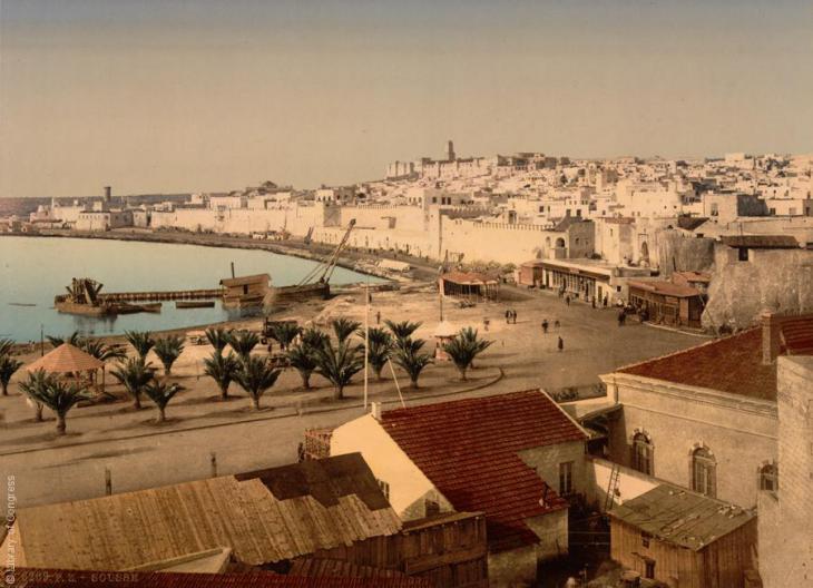 Blick auf den Hafen von Sousse, Tunesien, 1899; Foto: Raseef22