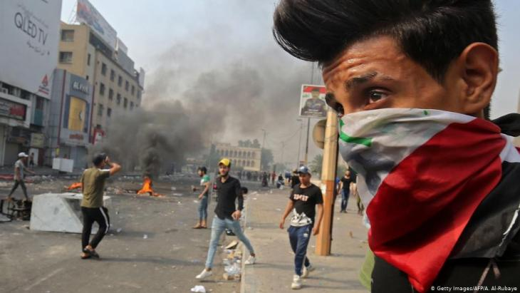 Ausschreitungen am 3.10.2019 am Tahrir-Platz in Bagdad; Foto: Getty Images/AFP