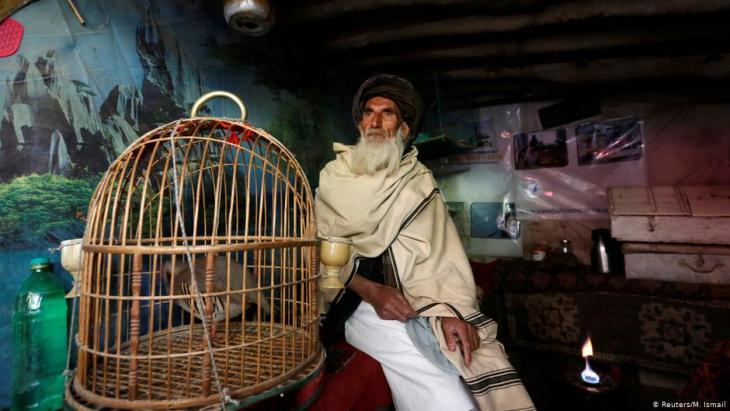 Mohammad Jan, 67, sitzt neben einem Käfig mit Rebhühnern in einem Geschäft auf dem Vogelmarkt Ka Faroshi in Kabul, Afghanistan. Foto: REUTERS/Mohammad Ismail