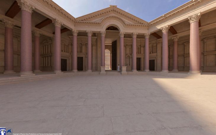 Rekonstruktion des Hexagonalhofs, Tempel des Jupiter, Baalbek, Libanon. Rekonstruktion: Flyover Zone; © Flyover Zone und Deutsches Archäologisches Institut.