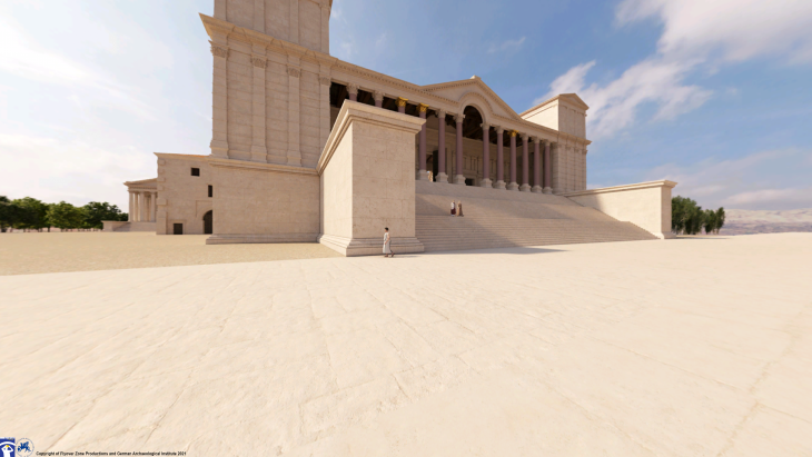Rekonstruktion der Propyläen, Eingangshalle des Heiligtums, Baalbek, Libanon. Rekonstruktion: Flyover Zone; © Flyover Zone und Deutsches Archäologisches Institut.