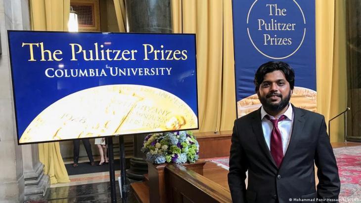 Reuters-Fotograf Danish Siddiqui posiert für ein Foto bei der Zeremonie zur Verleihung des Pulitzer-Preises in der Low Memoral Library Columbia University in New York am 30. Mai 2018; Foto: REUTERS/Danish Siddiqui