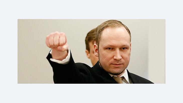 Anders Behring Breivik am ersten Tag seines Prozesses im April 2012; Foto: REUTERS/Fabrizio Bensch