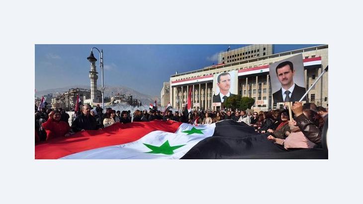 Anhänger Assads in Damaskus; Foto: AP