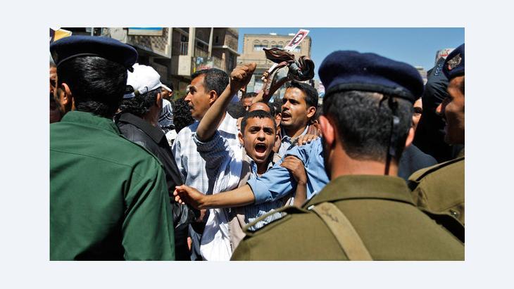 Demonstration gegen den ehemaligen Präsidenten Saleh in Sanaa, Februar 2011; Foto: AP