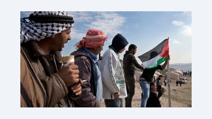 Palästinensische Aktivisten der Zeltstadt Bab al-Shams im Westjordanland; Foto: dpa/picture-alliance