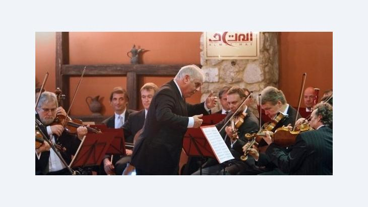 Daniel Barenboim während eines Konzerts in Gaza; Foto: AP
